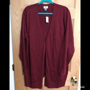 Old Navy Red Wine Button Up Cardigan 4X Plus NEW